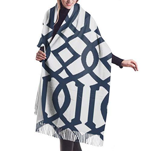 Bufanda de invierno con franja suave para mujer, 196 x 68 cm, con franja, imperial, color azul marino