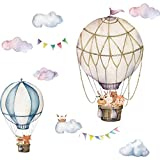 Hot Air Balloon Wall Decals,Peel and Stick Removable Cloud Animal Balloons Wall Stickers Decoration for Kids Nursery Bedroom Living Room