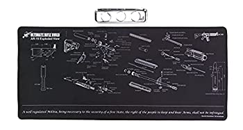 Ultimate Rifle Build X-Large Gun Cleaning Mat with Exploded Parts Diagram & Bonus Magnetic Parts Tray  Non-Slip & Solvent Resistant pad  Stitched Edges - 36x16
