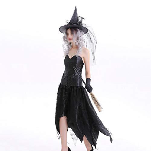 Halloween jurken, pet met slinger + kleding + handschoenen spook kostuum heks jurk, nachtclub partij kostuums