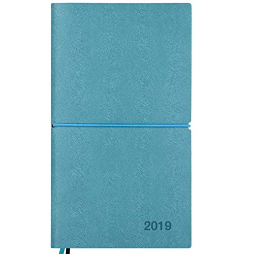 2019 Planner/Pocket Calendar: 14 Months (Nov 2018 - Dec 2019) Weekly, Monthly Calendars, Leather Material, Elastic Closure, Decorative Stitching, Page Finder Ribbons and Notes Pages (Teal/Black)