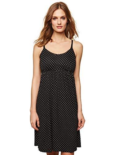 Motherhood Maternity Women's Maternity Lace Trim Nursing Nightgown, Black/White dot, Large