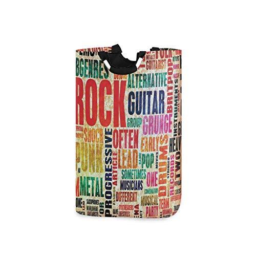 ZOMOY Multifunktionale Faltbarer Schmutzige Kleidung Wäschekorb,Retro Rock'n'Roll Symbol Schriftzug Grunge Distressed Colors Damals Sound Music Theme,Household Wäschebox Spielzeug Organizer
