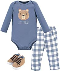 Hudson Baby Unisex Baby Cotton Bodysuit, Pant and Shoe Set, Little Bear, 0-3 Months
