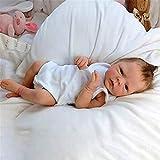 H.aetn 46cm Reborn Doll, Hecho a Mano de Cuerpo Completo de Silicona Reborn Baby Toddler Doll Realista Muñeca Realista con Mono Blanco