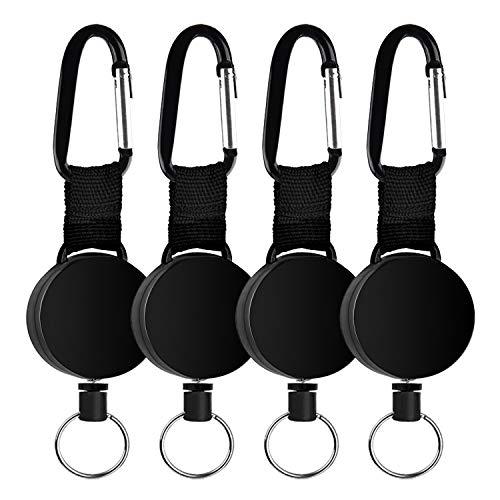 Tusenpy 4 pezzi portachiavi retrattili, portatile portachiavi bobina badge key chain per ID portabiglietti con corda in acciaio da 64cm,nero (4 Pezzi)