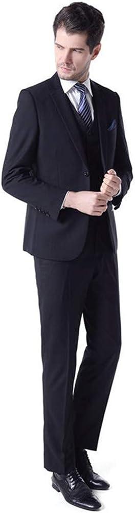 Black Men Suits 3 PCs(Jacket+Pants+Vest) Slim Fit Blazer Wedding Prom Grooms BusinessTuxedo Plus Size