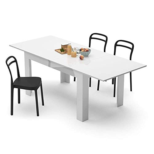 Mobili Fiver, Table Extensible Cuisine, Easy, Blanc Laqué Brillant, 140 x 90 x 77 cm, Mélaminé, Made in Italy