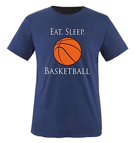 Comedy Shirts - EAT. Sleep. Basketball - Kinder T-Shirt - Navy/Weiss-Schwarz-Orange Gr. 152-164