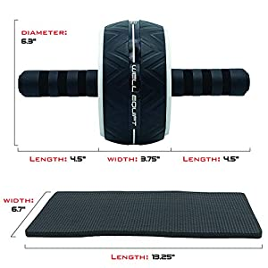 Ab Roller for Abs Workout - Ab Wheel Roller for Core Workouts - Exercise with Our Home Gym Workout Equipment for Men and Women - Includes Knee Pad - Well-Made, Rounded-Edges, Non-Slip