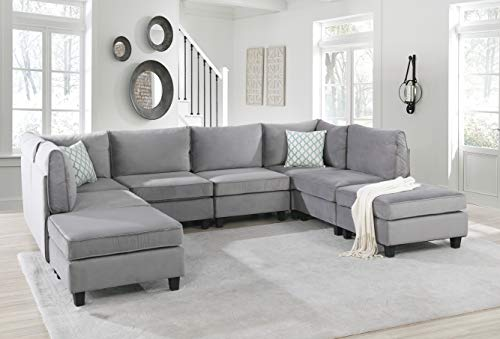 Simona Gray Velvet Fabric 8Pc Reversible Modular Sectional Sofa Couch with Ottoman in U-Shape L-Shape