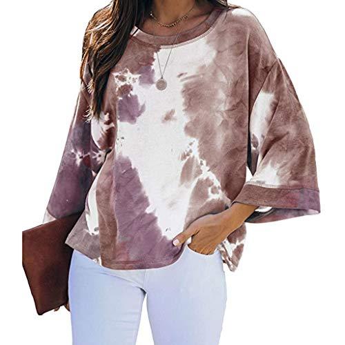 Great Price! AHUIGOYCE Womens Tie-Dye Long Shirt Oversized Loungewear Wide Sleeve Pullover Tops Swea...