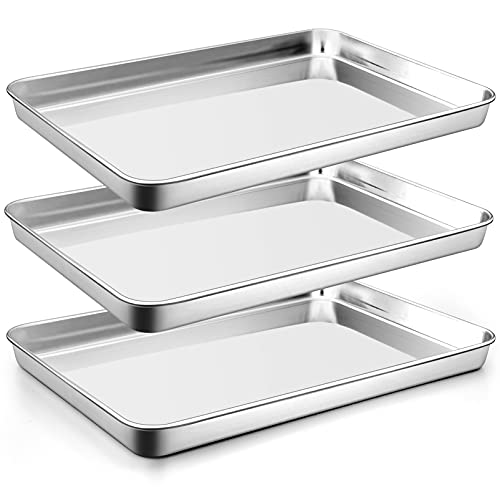 Large Baking Sheets Set of 3, P&P CHEF Stainless Steel Baking Pan Tray, Rectangle 16 x 12 x 1 Inches, Healthy & Heavy-Duty, Easy Clean & Mirror Finished
