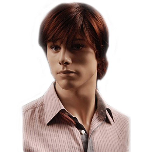 GOOACTION Mens Short Brown Red Hair Wig with Bangs Natural Daily Wear Synthetic and Halloween Cosplay Replacement Wigs for Male