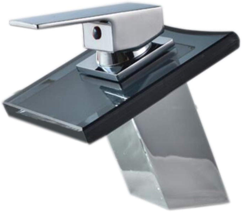 ZTMN Wasserhahn Quartet schwarz Glass Wasserfall Wasserhahn Becken Wasserhahn (Farbe  A), Silber, a