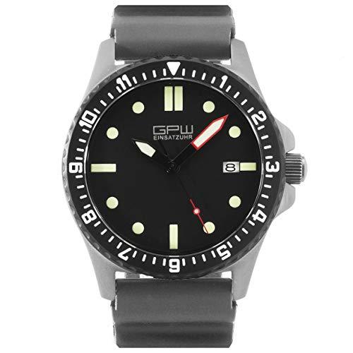 German Military Titanium Automatic Watch. GPW Date. 200M W/R. Sapphire Crystal. Grey Field Rubber Strap.