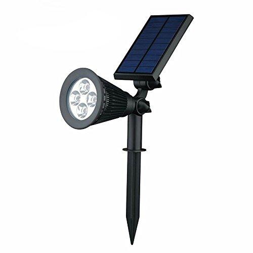 Faretti LED Solari, Regolabile IP44 Impermeabile Lampada Solare da Esterno con 4 LED Avanzati per Giardino, Backyards, Prato, Parete Esterna e Paesaggio-Auto ON/OFF