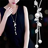 Hithop Necklace for Women Jewelry Tassel Long Sweater Necklaces Pearl Silver Product Name