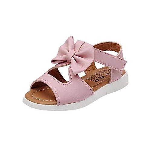 Summer Kids Children Sandals Fashion Bowknot Girls Scarpe da Principessa Piatte Antiscivolo,Pink,22