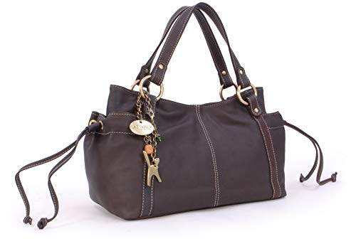 Catwalk Collection Handbags - Leder - Umhängetasche/Ledertragetasche/Schultertasche - MIA - Braun
