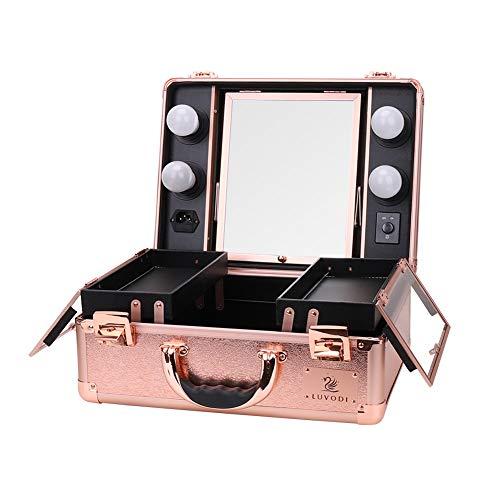 LUVODI Klein Beautycase mit Beleuchtung & Kosmetikspiegel, Kosmetikkoffer Make Up Pilotenkoffer Schminkkoffer 38 x 17 x 29 cm, Rosa Gold