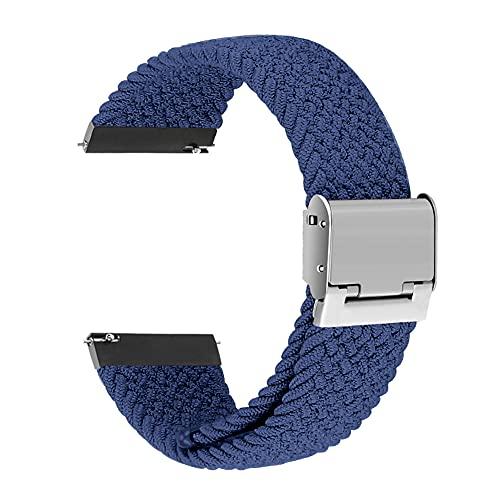 VeveXiao Correa de nailon compatible con Samsung Galaxy Watch 3 de 45 mm para hombre y mujer de 22 mm, ajustable, trenzada, elástica, para Samsung Galaxy Watch 46 mm/Gear S3 (azul)