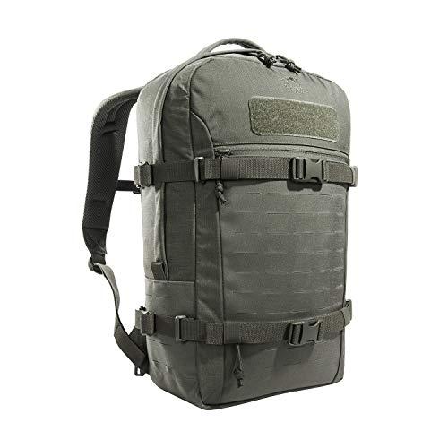 Tasmanian Tiger TT Modular Daypack XL Molle-kompatibler, Ergonomischer Tages-Rucksack mit Kompressionsriemen, Trinksystem-Vorbereitung, 23 Liter (Steingrau-Oliv IRR)