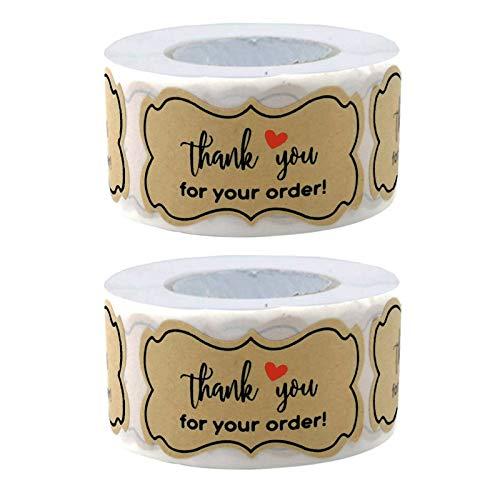 500PCS Pegatinas Etiqueta Adhesiva Pegatina Rollo, redondas, Kraft Handmade with Stickers Labels Roll para Sello Scrapbooking Regalo Bolsa Recuerdo Boda Fiesta Aniversario Cumpleaños
