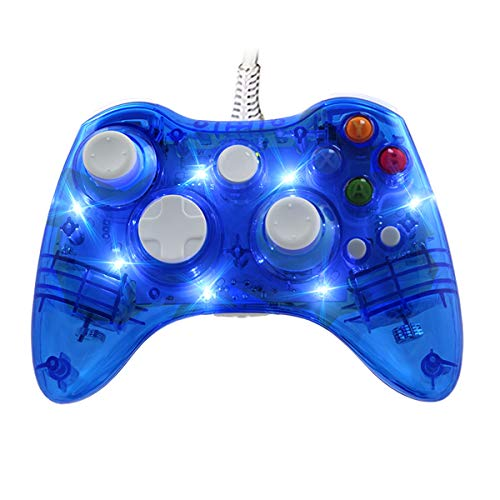 Wired Gamepad für Xbox 360,WeJoy PC Controller mit DualShock und 7 LED für XBOX 360/PC/Windows XP/7/8/8.1/10/Vista-Transparent Blau