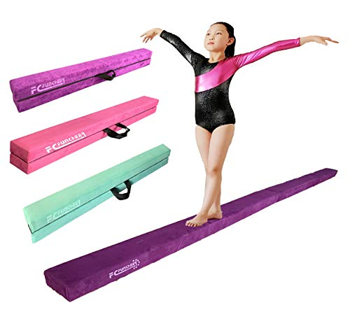 8FT Folding Gymnastic Beam,Wood core Anti-Slip Bottom with Carrying Handle
