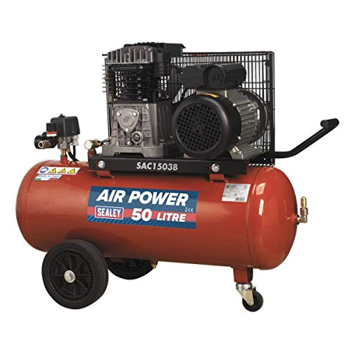Sealey - Compressor Riem Drive 3Hp Met Cast Cilinders & Wielen 50Ltr Rood