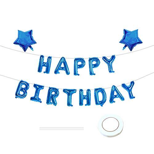 Happy Birthday Ballons Banner, Blau Geburtstag Luftballons Buchstaben Folien Banner, Selbstaufblasend Luftballons mit Band und Stroh, Folienluftballons Dekoration für Partydekoration (Blau, 17 Stück)
