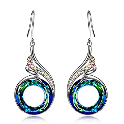 Kate Lynn Nirvana Of Phoenix Sterling Silver Swarovski Crystal Drop Dangle Studs Earrings for Women Anniversary Birthday Valentine Christmas Mother's Day Gifts for Teen Girl Sister Mom Daughter Wife