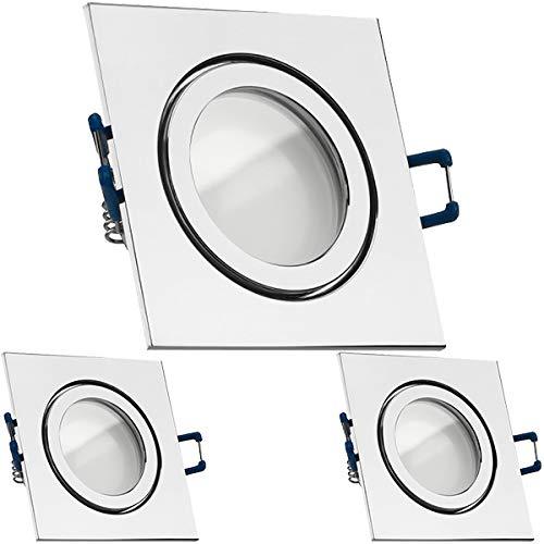 3er IP44 LED Einbaustrahler Set Chrom mit LED GU10 Markenstrahler von LEDANDO - 5W - warmweiss - 120° Abstrahlwinkel - Feuchtraum/Badezimmer - 35W Ersatz - A+ - LED Spot 5 Watt - Einbauleuchte eckig