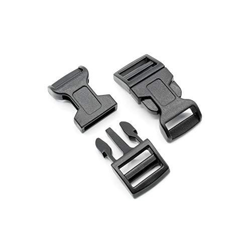 Steckschnalle 15mm Schwarz gebogen Typ F POM Acetal [10 Stück] HEAVYTOOL® Steckverschluss Klippverschluss Klickverschluss