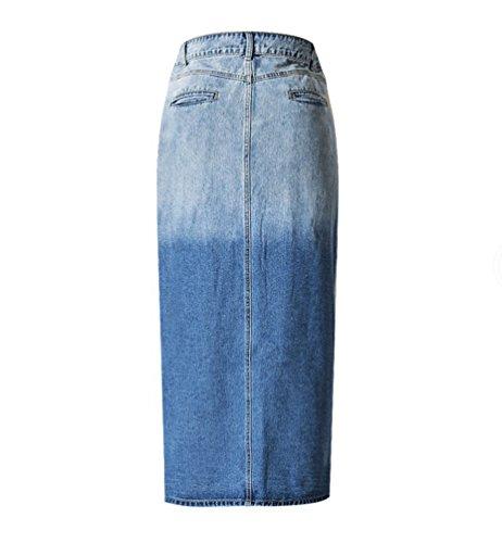 YiLianDa Mujeres Cintura Alta Falda Larga de Mezclilla Vaquera Falda de Cadera L