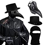 SOGUYI Plague Doctor Mask Set, Bird Mask Plague Doctor Costume 3 in 1 with Black Plague Doctor Mask,Plague Doctor Hat,Balaclava,Leather Steampunk Mask,Scary Mask for Women Men Adults