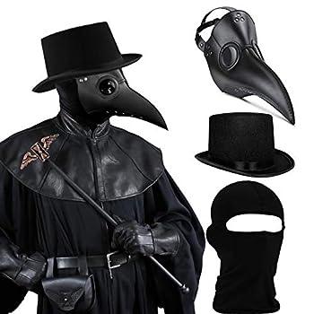 SOGUYI Plague Doctor Mask Set Bird Mask Plague Doctor Costume 3 in 1 with Black Plague Doctor Mask,Plague Doctor Hat,Balaclava,Leather Steampunk Mask,Scary Mask for Kids Women Men Adults