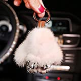 FancyAuto Flauschige Hase Schlüsselanhänger Weich Flauschig Kaninchen Spielzeug Diamanté Schlüsselbund Auto Schlüsselring Auto Zubehör(Weiß)