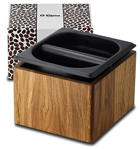 Clara Coffee Abklopfbehälter aus Holz (Eiche) und Edelstahleinsatz, großer herausnehmbarer Abschlagbehälter zum einfachen reinigen, Knockbox für home Barista, Siebträger...