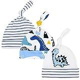 CuteOn 3 Paquete Bebé Beanie Nudo Sombrero Recién Nacido Chicos Chicas Algodón Ajustable Gorra para Bebé 0-6 Meses (Nuevo Dinosaurio Azul)