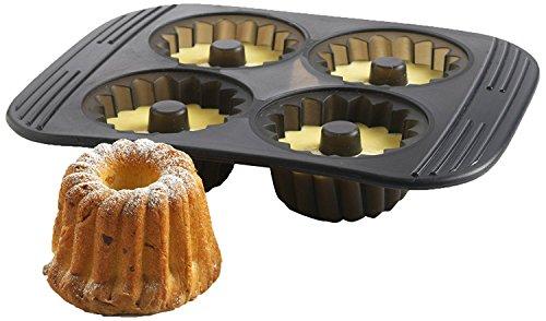 MASTRAD - Moule 4 Mini-Kouglofs - 100% Silicone Premium - Anti-Adhésif - Maintien Parfait - Gris Fumé