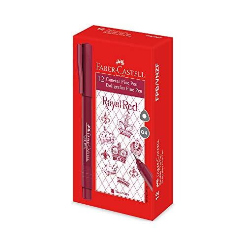 Caneta Ponta Fina Fine Pen 0.4mm 12 Unidades, Faber-Castell, Vinho