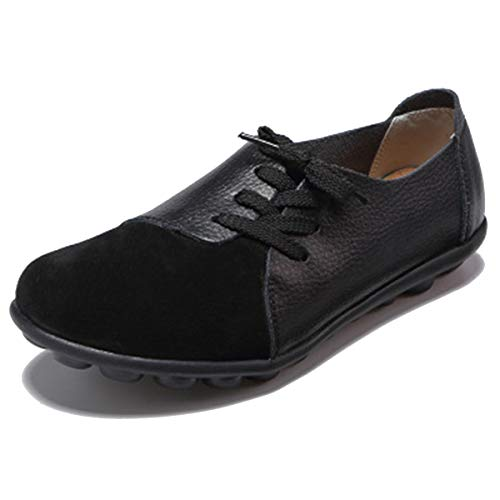 GAXmi Mocassins dames leer comfort schoenen stropdas Penny Loafers gezellig vlakke rijden bootschoenen halfschoenen