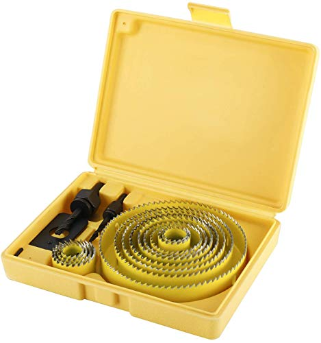 21pcs Hole Saw Set with 13pcs 3/4''-5'' Saw Blades 3/4''-5'', Ideal for Soft Wood, PVC Board and More