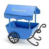 Accesorios Jardín Carro De Miniaturas De Jardín De Hadas con Cobertizo Carro De Carretilla Artesanal De Metal Vintage Maceta Adornos De Jardín En Miniatura Azul