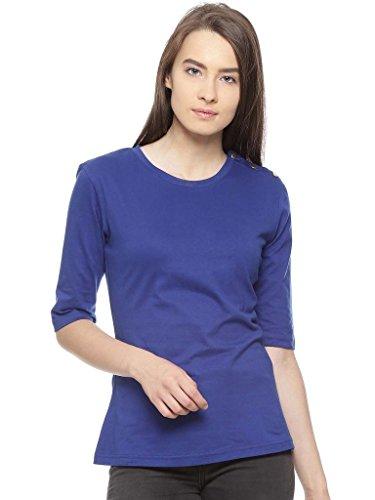 VVOGUISH Women's Regular Fit Shirt (VVTOP1208RBLU_Blue_38_Blue_Medium)