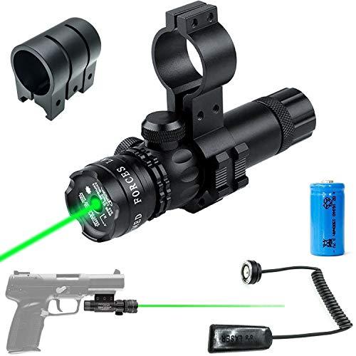 Shooney's Green Laser Beam Dot Sight Pressure/Push Switch with Picatinny/Scope Mount Rings for Handguns Pistols Caliber Rifles AR