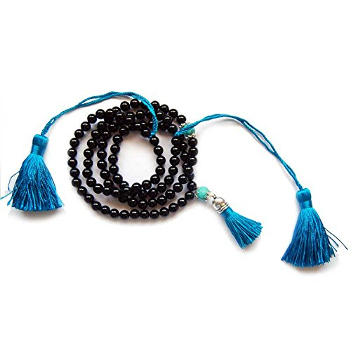Mala Budista de Agata Negra y Turquenita con borlas largas. 108 bolas de 8 mm + Bolsa