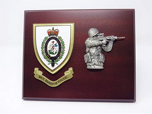 ROYAL REGIMENT VAN FUSILIERS (RRF) MESS SHIELD & SHOOTING SOLDIER FIGURE COMBAT WALL & DESK PLAQUE